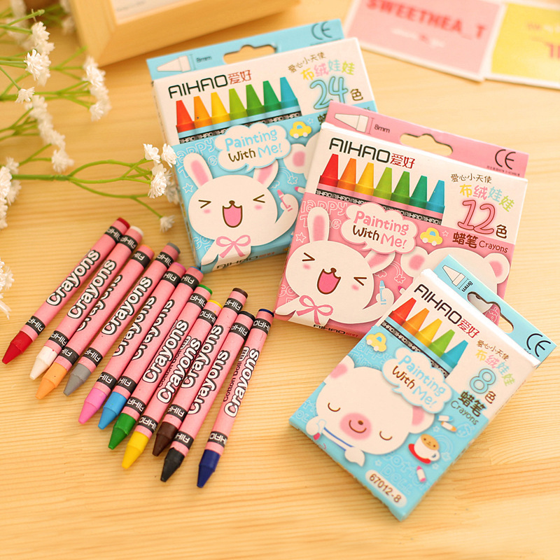 Lovely Animal Print Colorful Non-Toxic Crayon Oil Painting Stick For Kids Students DIY School Supplies Oil Pastel Set