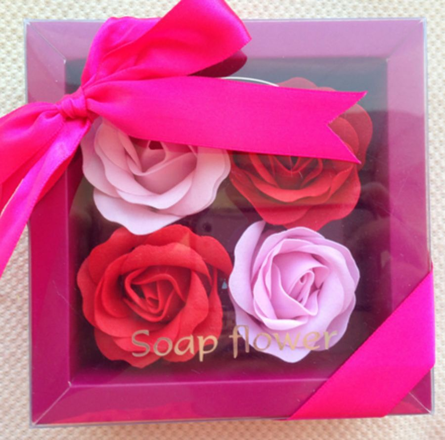 4 in 1 Beautiful Gift Box Decorative Rose Soap Flower Set For ...