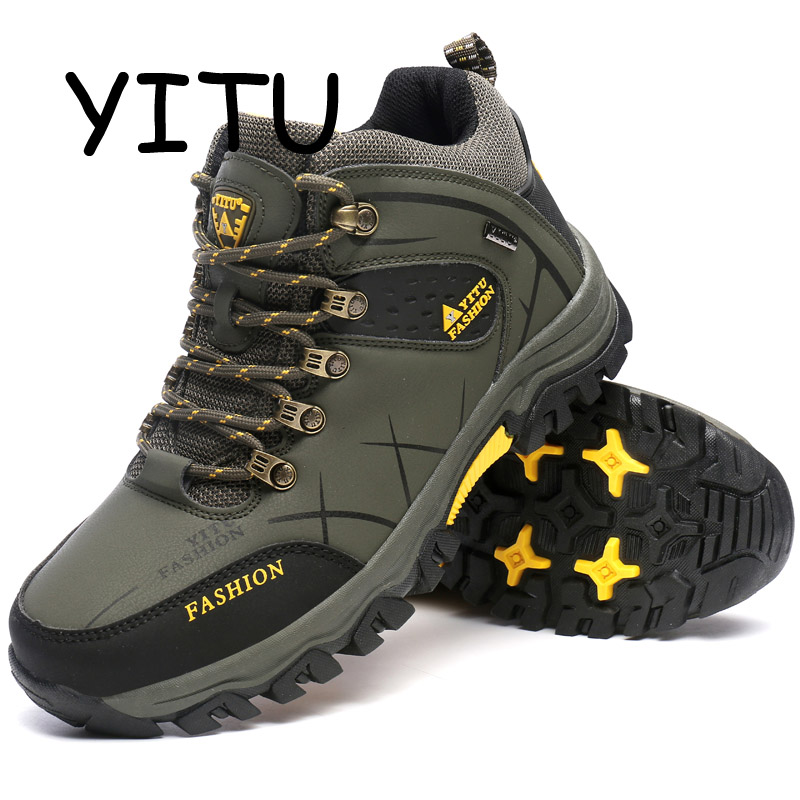 YITU Rubber Hunting Boots Waterproof Men's Winter Sneakers Trekking Hiking Shoes Outdoor Sneakers Sport Climbing Shoes Leather цена
