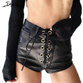 Black PU Leather Shorts Women Rivet Lace Up Casual High Waist Shorts Sexy Slim Shorts