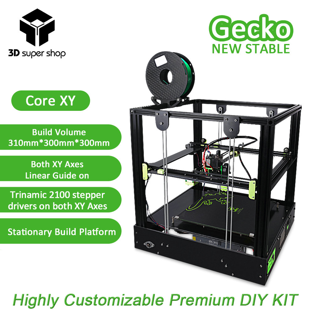 3D Gecko Core XY 3D Printer Structure DIY Kit with heat bed large print size with clone Titan extruder Printers roomers тарелка innovar 27 x27 cм
