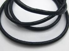 16.4 Feet Black Round Real Leather Jewelry Cord 4mm(China)