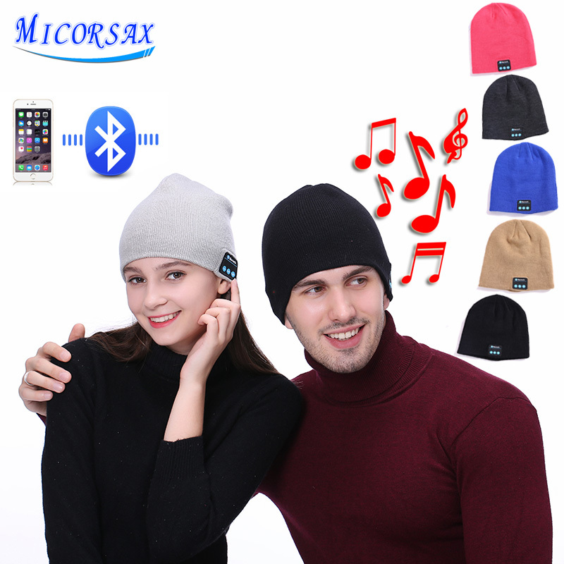 MICORSA 2018 New Wireless Bluetooth Smart Earphone Cap Music Knitted Hat Plus Velvet Thick Winter Keep Warm Hat With Mic Speaker wireless bluetooth headphones music hat smart caps headset earphone warm beanies winter hat with speaker mic for sports