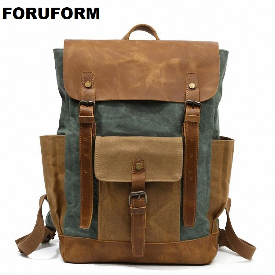 Vintage Military Backpack Male Travel Bag Large Waterproof Backpack School Shoulder Bagpack Canvas Men Casual Daypack LI-2125 large 14 15 inch notebook backpack men s travel backpack waterproof nylon school bags for teenagers casual shoulder male bag