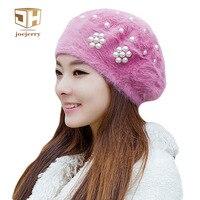 Joejerryかわいいウサギの毛皮の女性ベレーフレンチアーティスト帽子フラットキャップ暖かい冬用ベレー女