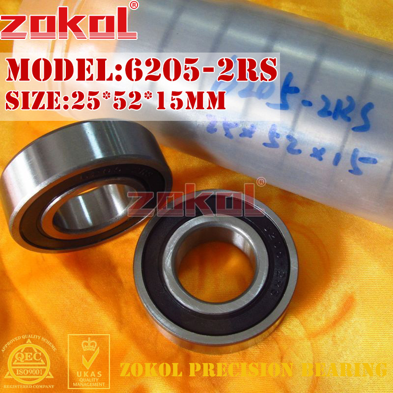 ZOKOL 6205RS bearing 6205 2RS RS 180205 6205-2RS Deep Groove ball bearing 25*52*15mm цена