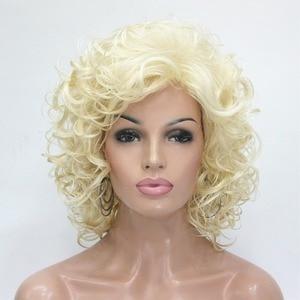 Image 2 - Strong beauty perruque synthétique complète moyenne bouclée pour femmes, perruque naturelle complète Blonde/Auburn, 7 couleurs
