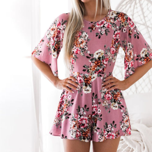 Sexy Women's Backless Mini Jumpsuit Floral Pink Yellow Colors Rompers Summer Beach Casual