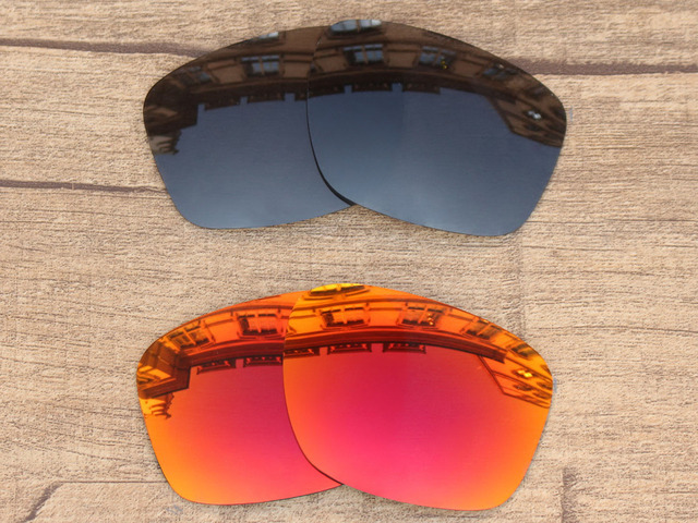 8e096de24709 Black Grey   Fire Red 2 Pairs Polarized Replacement Lenses For Sliver Sunglasses  Frame 100% UVA   UVB Protection