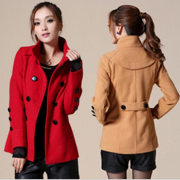 15c43a14c153 Automne et hiver col montant à double boutonnage en laine manteau mode  coréenne mince coupe-vent veste