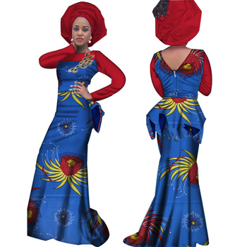 Dashiki African Print Dresses for Women Bazin Riche African Clothes Applique Draped Long Evening Dresses African Clothing WY3666