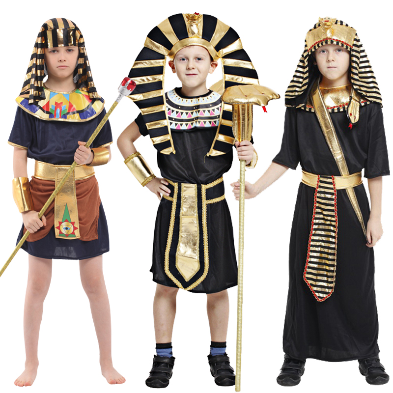 Halloween Costumes Boy Girl Ancient Egypt Egyptian Pharaoh Cosplay Costume Cleopatra Prince Princess Costume for Children
