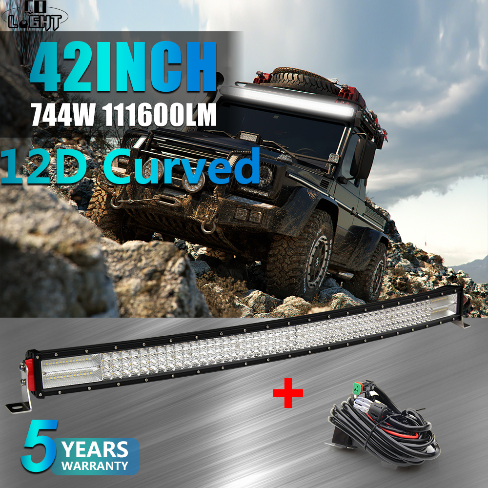 CO LIGHT 12D 4 Row Led Light Bar 42 744W Curved 4x4 Offroad Led Bar for