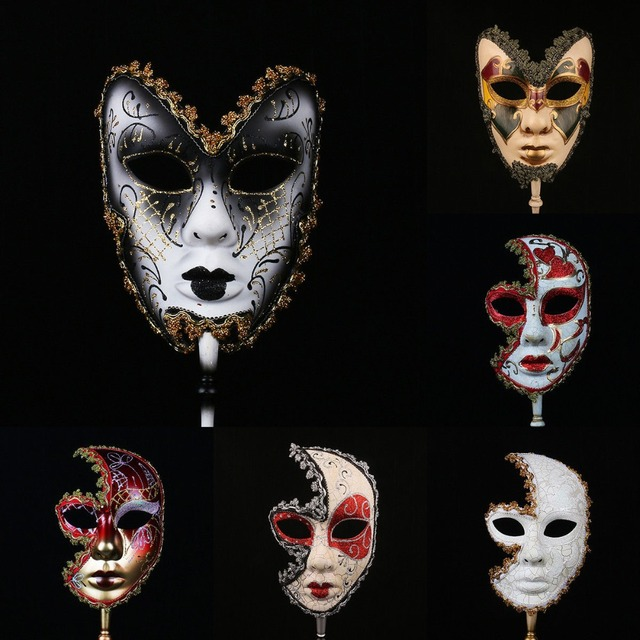 H&D 6 Kinds Venetian Mask On Stick Mardi Gras Mask for Women/Men Masquerade Party Prom Ball Halloween Party Cosplay Favors