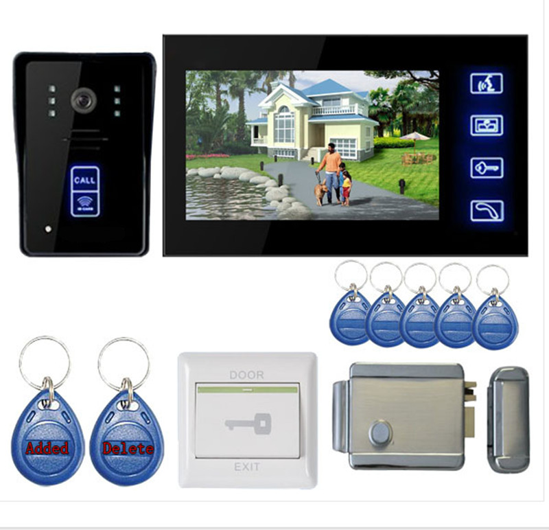 7 Inch Touch Screen Intercom Video Door Phone With Key Tag and Door Lock
