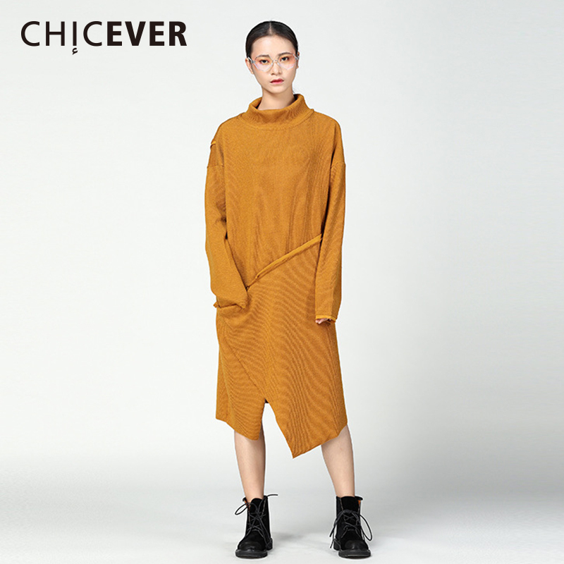 CHICEVER Winter Irregular Knitted Sweater Dress Female Long Sleeve Loose Big Size Two Wear Black Women Dresses Clothes Fashion autumn winter thick warm knitted sweater dress for women 2018 female long sleeve plus size loose dress w pockets woman clothes