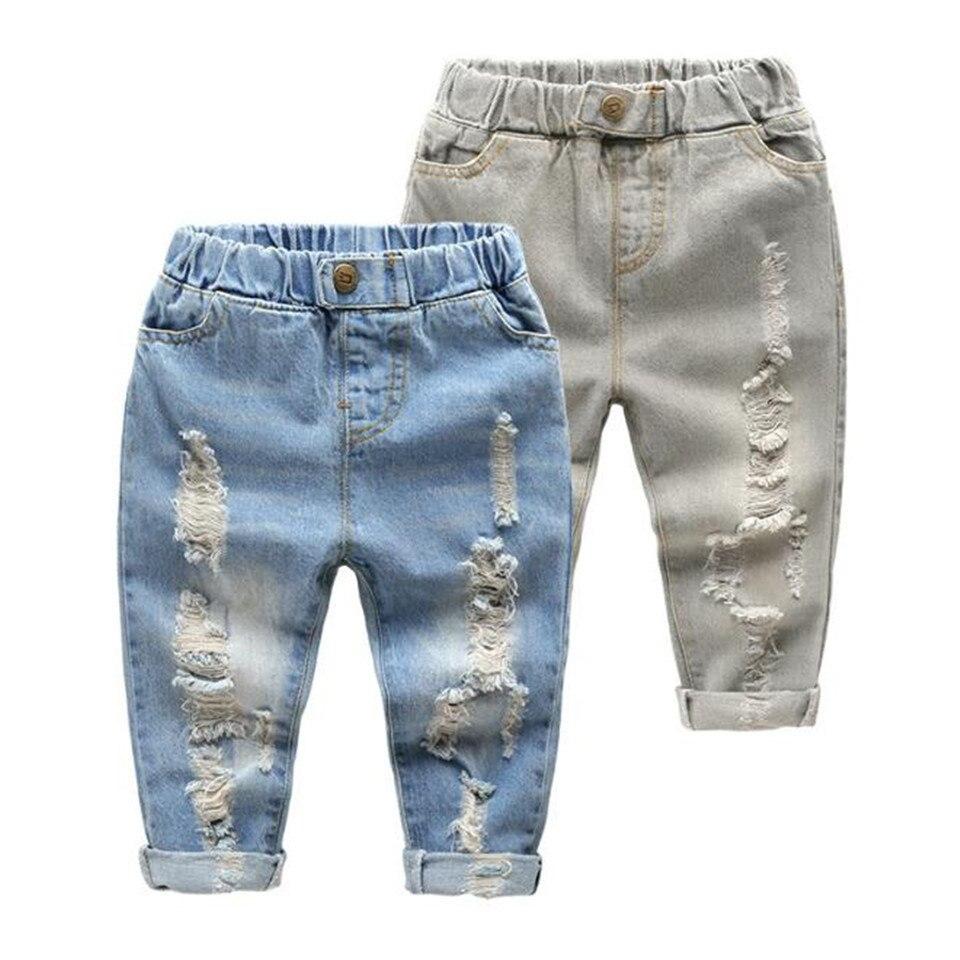 2019 Nieuwe Mode Gebroken Gat Kids Jeans Meisjes Jongens Lente Zomer Jeans Casual Losse Gescheurde Jeans Kinderen Jeans Voor 2 -6 T Baby