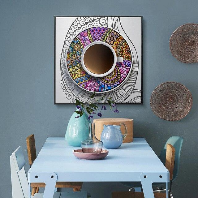 HAOCHU Vintage Ethnische Blumen Muster Kaffeetasse Klassische Kunst  Leinwand Malerei Quadrat Wand Poster Schlafzimmer Restaurant Dekoration