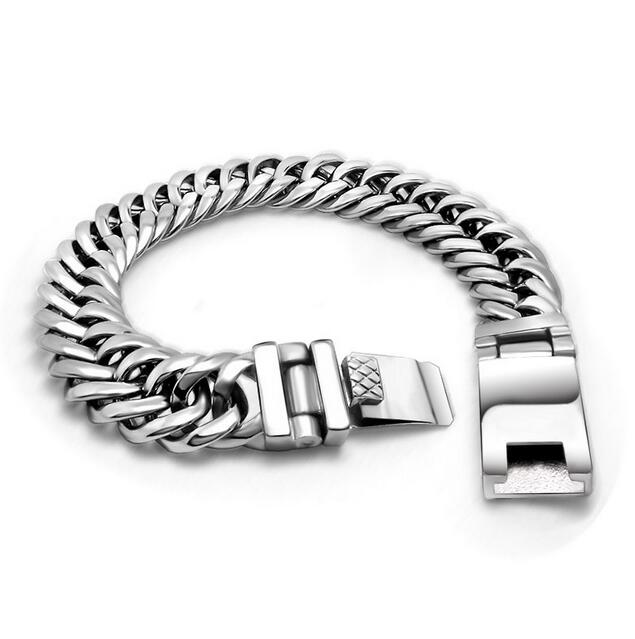 Fashion Charm Women And Mens Chain Stainless Steel Bracelet Alloy Silver Colors Men Chunky