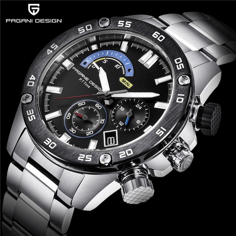 Business Stainless Steel Waterproof Sports Men s Watches PAGANI DESIGN Luxury Brand Chronograph Quartz Watch Relogio