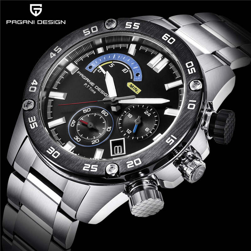 비즈니스 스테인레스 스틸 방수 스포츠 남자 시계 pagani design 럭셔리 브랜드 크로노 그래프 쿼츠 시계 relogio masculino-에서수정 시계부터 시계 의  그룹 1