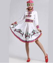 white Tibetan dance costumes for women chinese national dance costumes for women mongolia dress