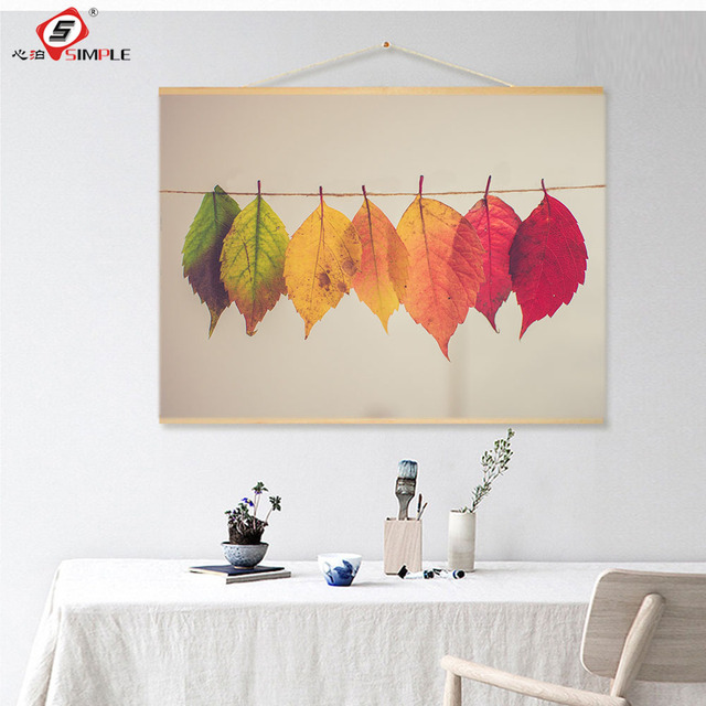 Us 16 72 28 Off Simple Friendly Oil Ink Painting Canvas Plant Scroll Painting With Wooden Frame Colorful Leaves Wall Art Modern Wall Picture In