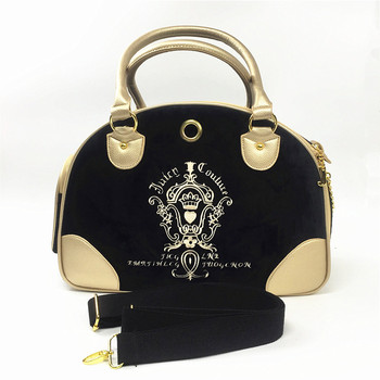 Fashion Designer Pet Carrier Dog Travel Bag Cat Carrying Soft sided Shoulder Handbags For Small Animals Black tote bag