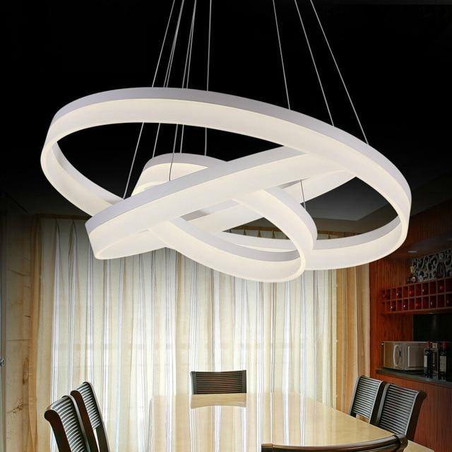 US $99.99 |SinFull Moderno colore bianco anello rotondo Acrilico LED  lampadari camera da letto ristorante sala da pranzo illuminazione a  sospensione ...