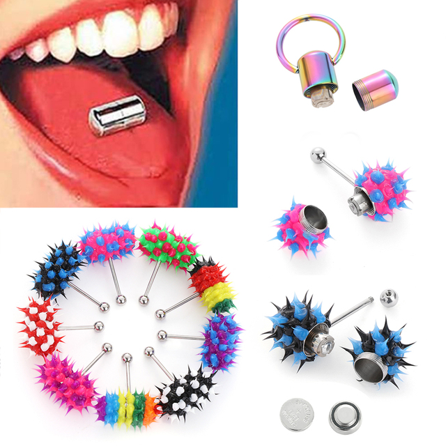 1pc Fashion Women Men Rubber Stainless Steel Barbell Vibrating Tongue Bar Body Piercing Stud Ring Punk