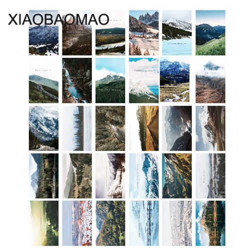 30 Pcs/pack Mountain Sea Landscape Postcards Leaf Plant Design Icon Style Note Card Lomo Postcard Chic Style Gifts XLG931