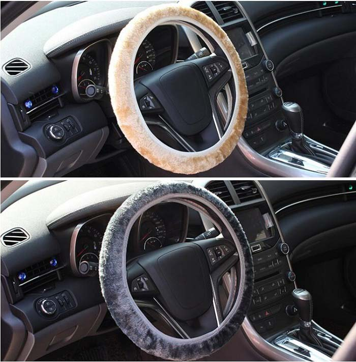 35-40cm Universal Car Steering Wheel Cover antislip fashion short fur elastic