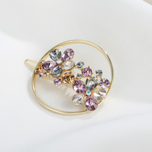 CHIMERA Circle Metal Hair Pin Clear Austria Rhinestone Flower Barrette Round Hollow Out Hair Clip Hairgrips for Women Accessorie