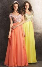 2016 Royal Blue Lange Formal Crystals Chiffon Modest Formale Abendkleider Mit Kurzen Ärmeln Sparkly Mädchen Party Kleider
