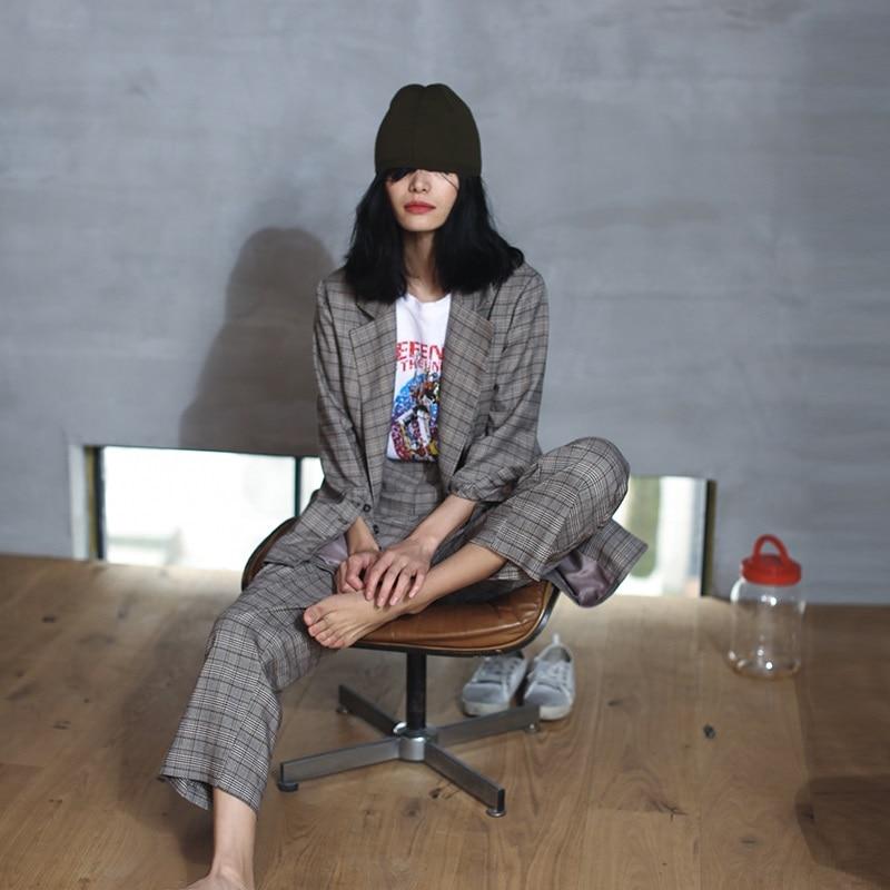 Tendance De Sur Style Femmes Lady Costume Bureau Grey dark Pantalon Mesure Portant Cheville 2019 longueur Grey Manteau Printemps 5OHPPvq