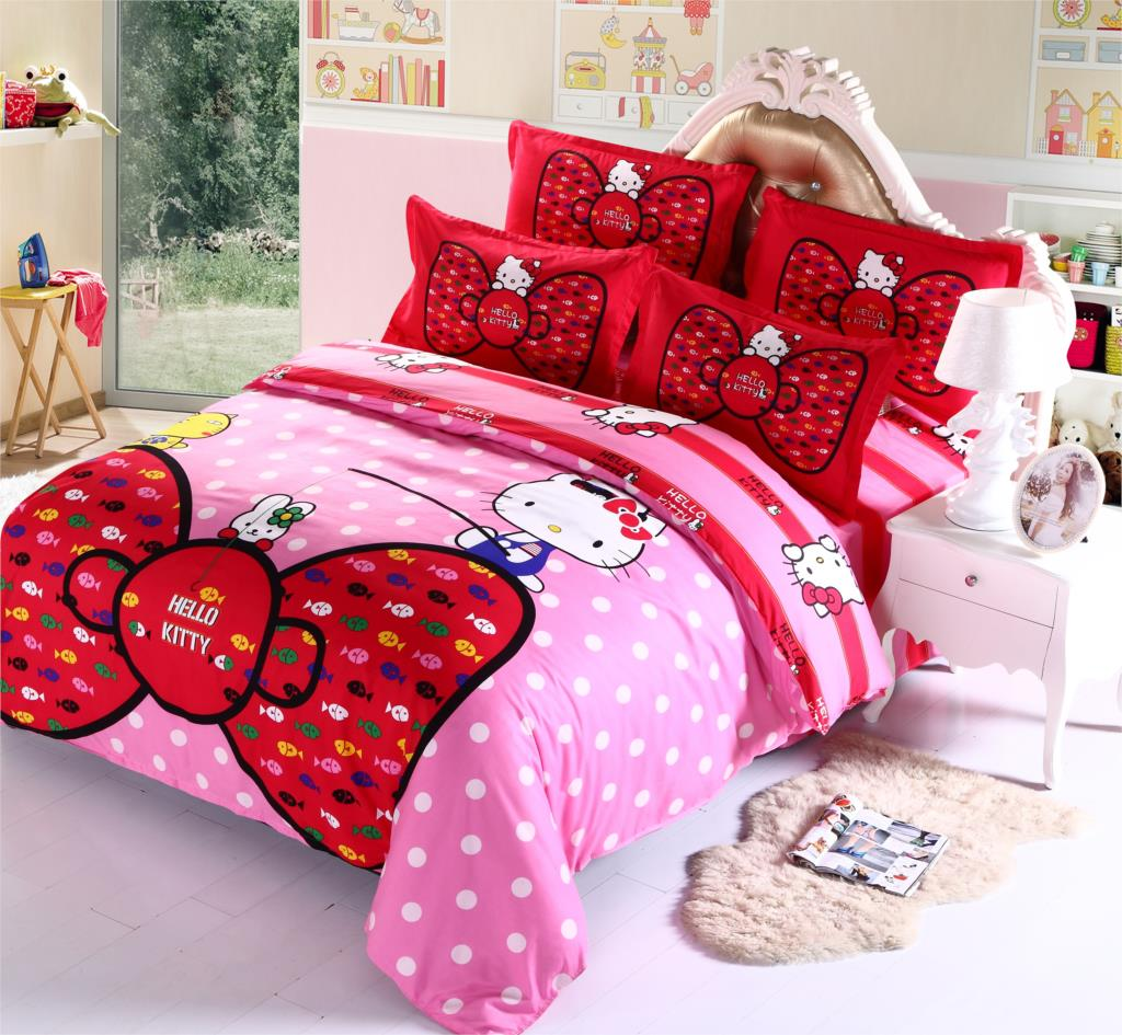 Pink hello kitty bedsheet - Aliexpress Com Buy Fashion Luxury 3d Cotton Print Bedding Sets Duvet Cover Bed Sheet Twin Queen Pink Hello Kitty Red Butterfly From Reliable Cotton Staple