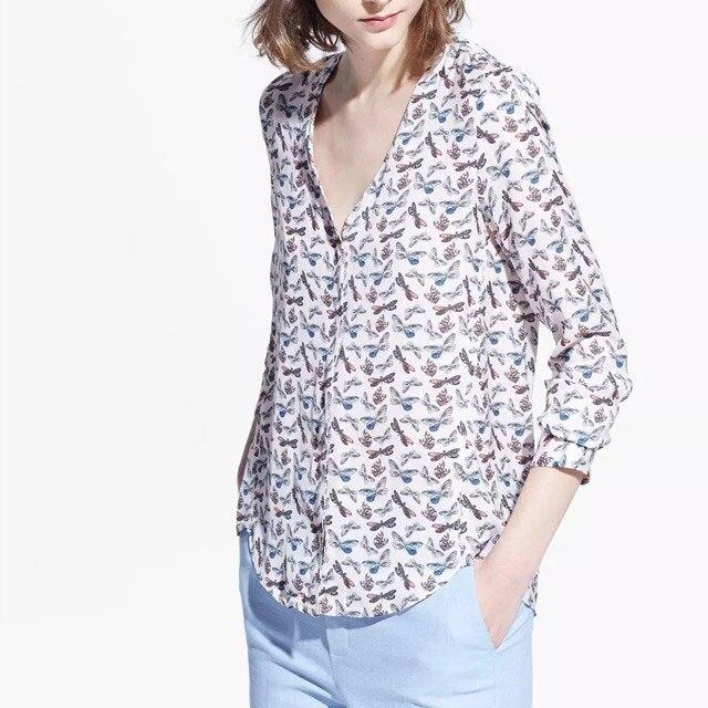 f83e26dd39a41 Mujeres superiores de diseño blusas elegante Blusa de algodón impreso  Floral camisas con cuello en v Pullover camisa temperamento Blusa ocasional  Tops ...