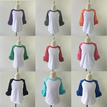 Hot Selling Multi-color Ruffle Raglan Plain Blank Icing Raglan Super Cotton Plain Long Sleeve Shirt