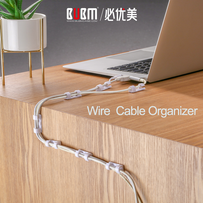 BUBM Adhesive Clip Wire Cable Organizer Desktop Work Place Management Cord USB Charging Data Line Telephone Winder Sleeve Holder