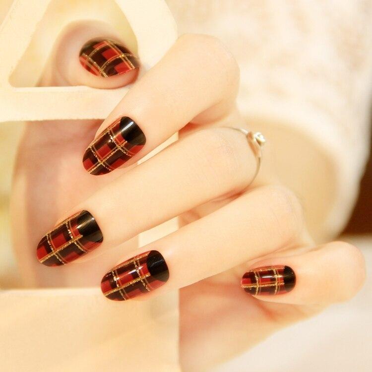 Scottish plaid false nail art decoration manicure tips,false nails ...