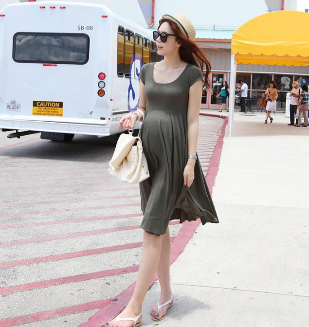 cotton Fashion Maternity Dresses Clothes For Pregnant Women Clothing O-neck Short Sleeve 4 Colors Slim Pregnancy Dress Wear 2018 chic round neck short sleeve figure print fringed dress for women