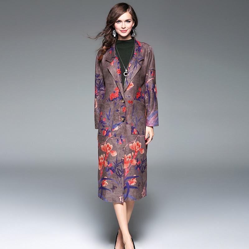 Elegant Long Coats European 2017 Autumn Winter Women Hot Sale Vintage Deerskin Turn down Collar Flower