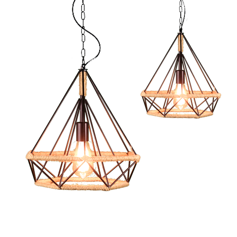 American country hemp rope light industrial wind, wrought iron restaurant diamond birdcage chandelier the birdcage