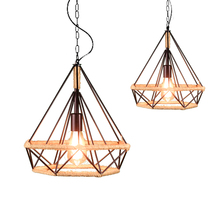 American country hemp rope light industrial wind, wrought iron restaurant diamond birdcage chandelier