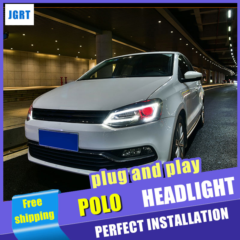 Car Styling for VW Polo Headlight assembly 2011-2016 for VW New Polo LED Headlight Lens Double Beam H7 with hid kit 2pcs. hireno headlamp for 2007 2011 volkswagen passat b6 headlight headlight assembly led drl angel lens double beam hid xenon 2pcs