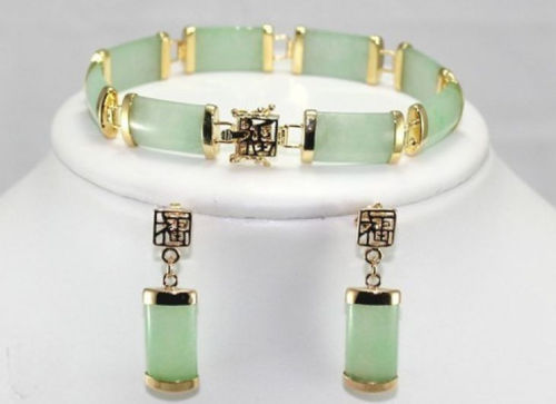 hot! noble natural jadeite link bracelet ( 7.5 ) + earrings ASAA ...