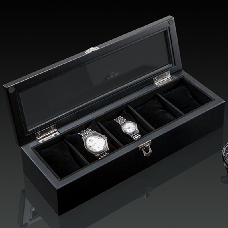 Image 5 - Top 5 Slots Wooden Watch Display Case Black Wood Watch Storage Box With Lock Fashion Wooden Watch Gift Jewelry Cases C023-in Watch Boxes from Watches