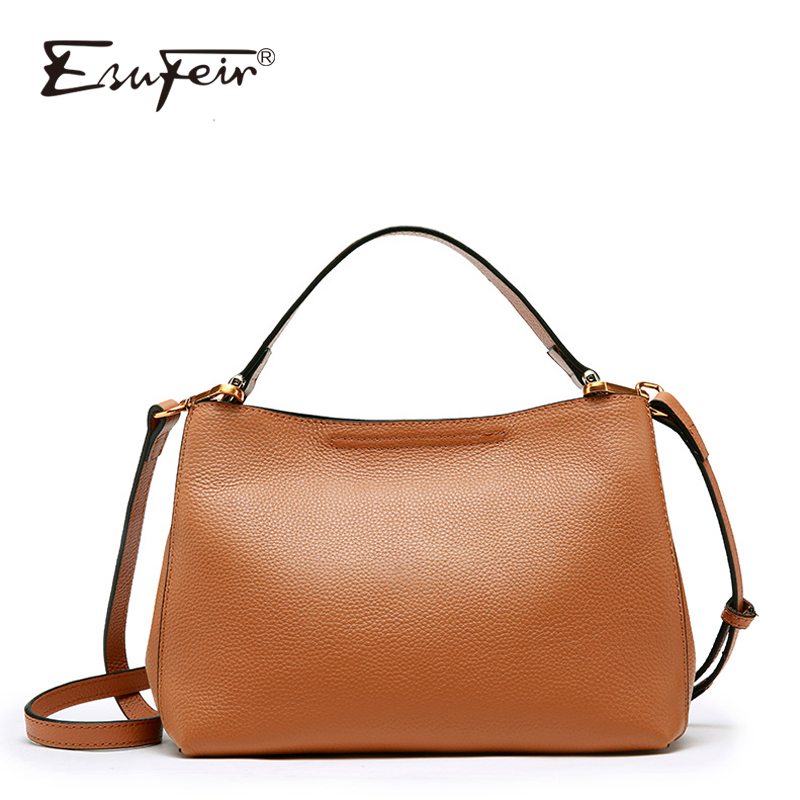 ESUFEIR Genuine Leather Shoulder Bag for Women Cowhide Messenger Bag Brand Women Handbags Fashion Crossbody Bag bolsa feminina fashion leather women messenger bag cowhide shoulder bag women satchels crossbody bag bolsa feminina