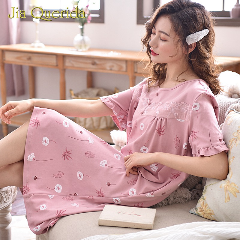 Womens Sleepwear   Nightgown   O Collar Lingerie Plus Size Knee-Length   Sleepshirt   Flower Leaves Print 100% Cotton Sweet Pink Nighty