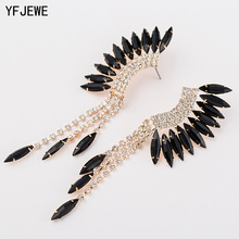 YFJEWE New Fashion Peacock Tassel Rhinestone Earring 3 Color Long Drop Earrings Jewelry Wedding Party Accessories Female E045(China)